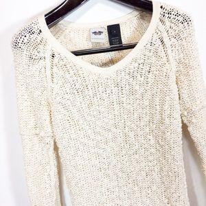 Harley Davidson Cream Boucle Knit V-Neck Sweater
